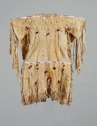 Louisa Littlechief (Mrs. Victor Little Chief), Northern Tsistsistas / Suhtai (Cheyenne), girlÕs dress, about 1900, Native-tanned elk or deer hide, glass beads, bone, sophoro beans, sinew, and thread. Hood Museum of Art, Dartmouth College: Gift of Guido R. Rahr Sr., Class of 1951P; 985.47.26603 29native